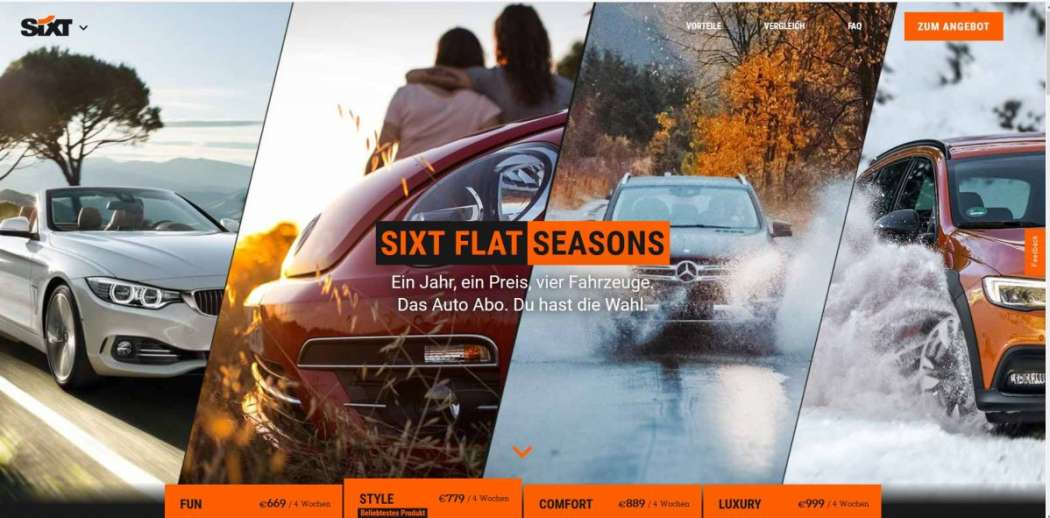 sixt forciert flatrate abos f r autos mobilit t news. Black Bedroom Furniture Sets. Home Design Ideas